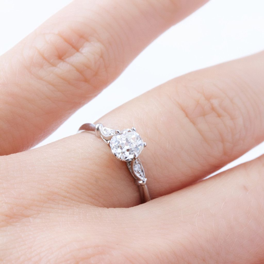 Old Mine Cut Diamond & Platinum Engagement Ring | Fleur - Victor ...