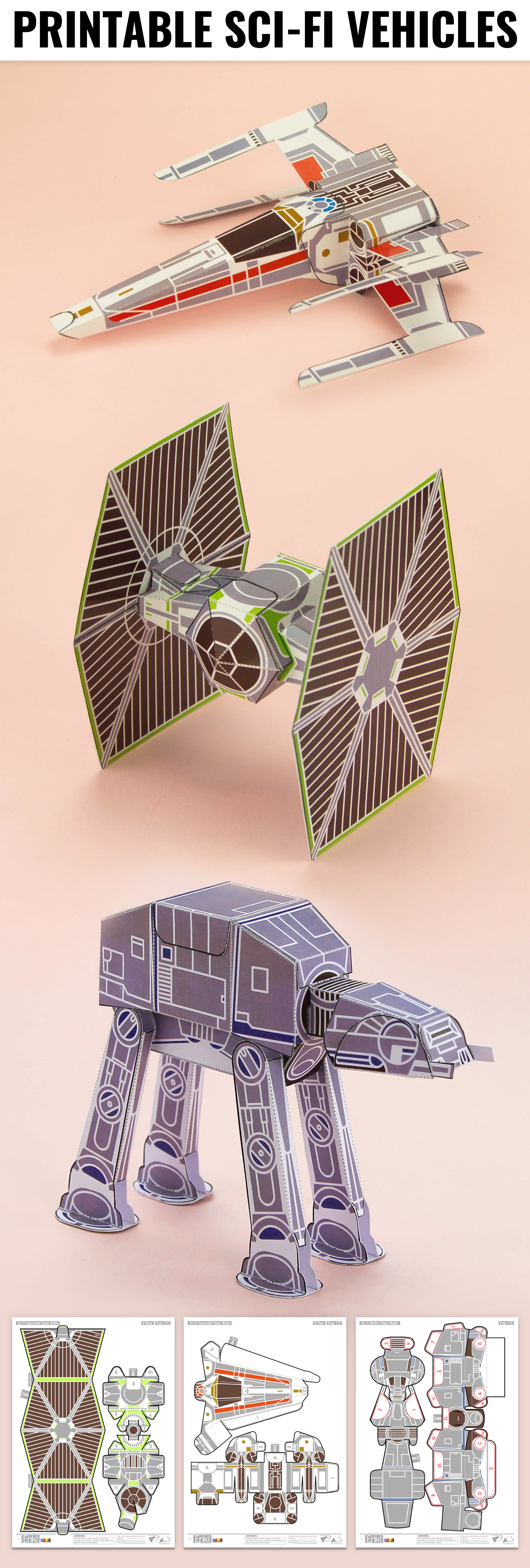 Printable space ship sci fi paper toy craft fold up toys star origami jeuxipadfo Images