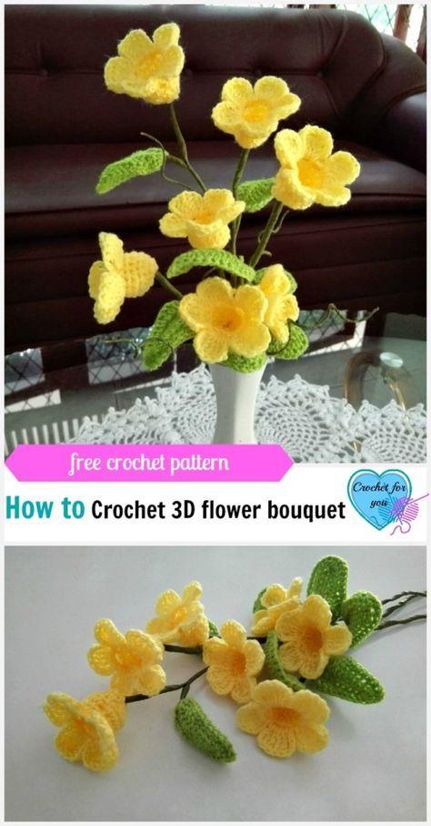 Вязание 3D букет (Golden Trumpet Vine) Free Pattern - Вязание для ...