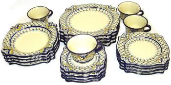 Elegant one of a kind hand made talavera dinner set by the master artisans at Alonso Luis in Puebla Mexico.  sc 1 st  Pinterest & Amozoc Puebla Imperial Dinner Set | Talavera Pottery from Mexico ...