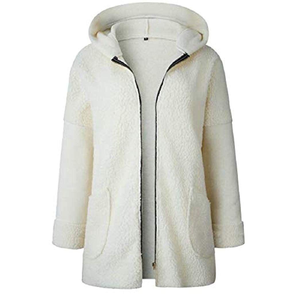 Womens Hoodie Zip Up Fleece Jacket Coat Casual Fuzzy Outerwear