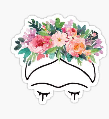 Pegatinas Frida Flores Para Dibujar Frida Kahlo Dibujo