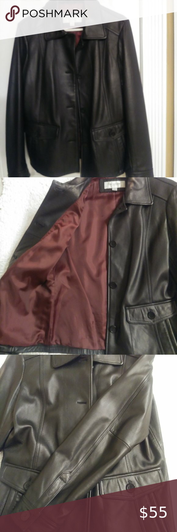 Liz Claiborne Black Genuine Leather Jacket Leather Jacket Genuine Leather Jackets Jackets