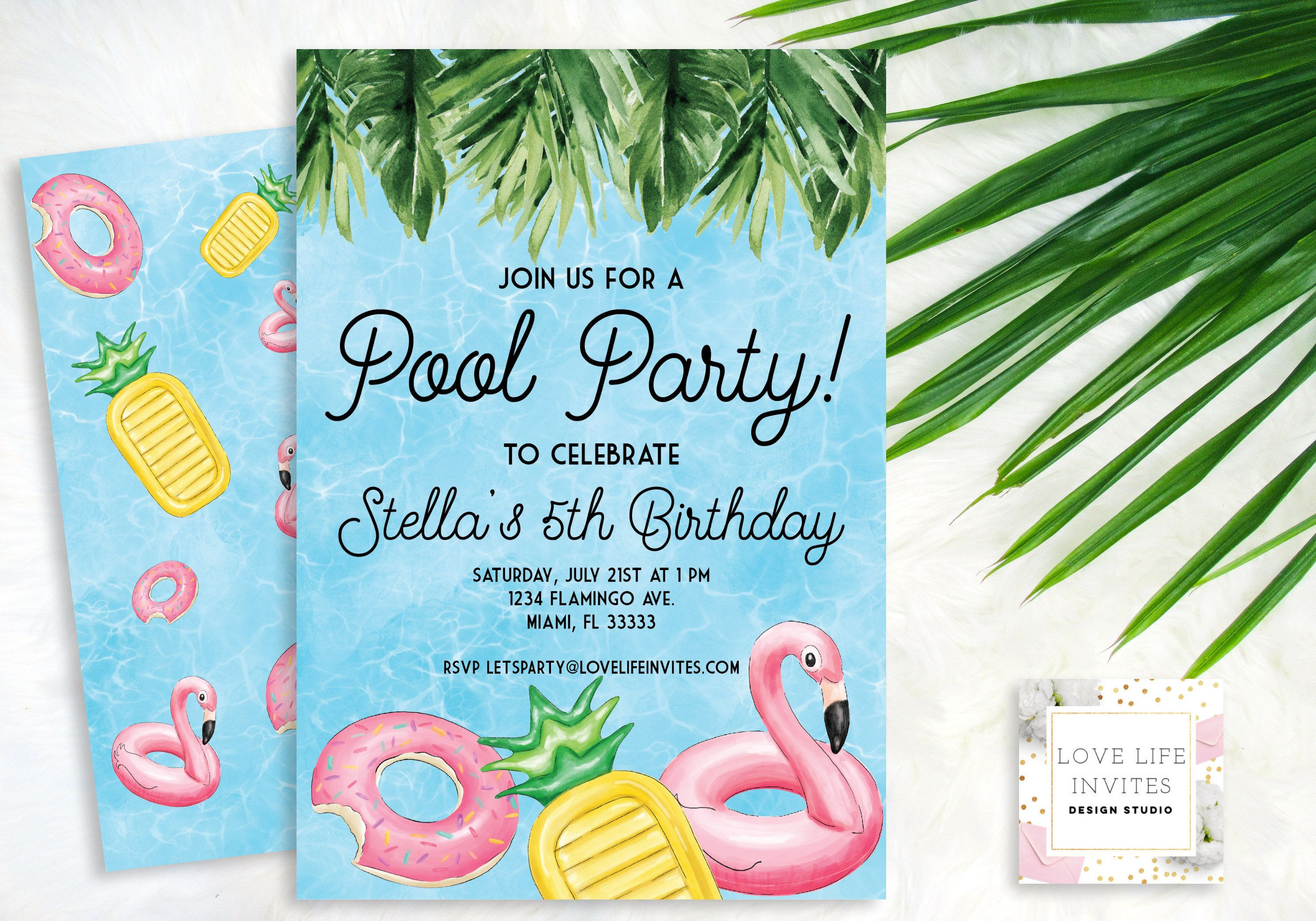 Tropical Pool Party Birthday Invitation