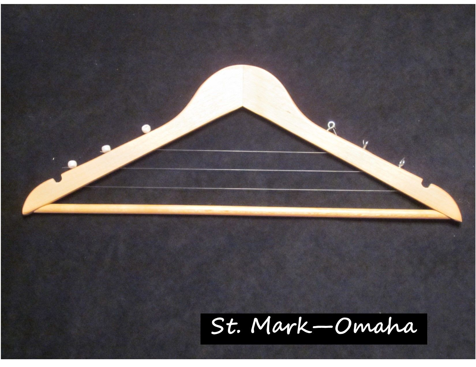 Sunday school craft - a harp made from a wooden coat hanger when we ...