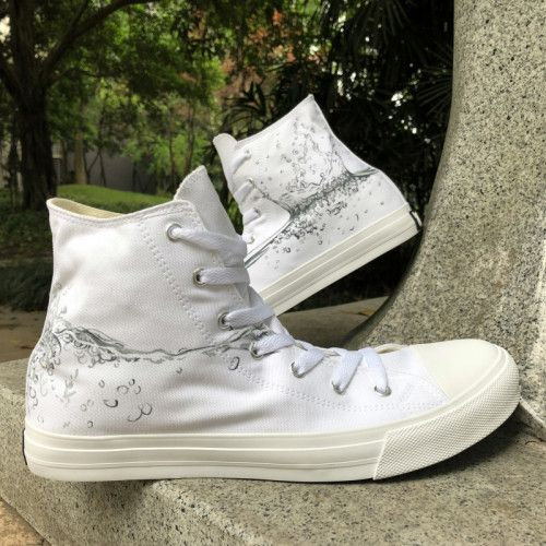Wen Unisex Canvas Sneakers Hand Painted Drops of Water Original Design afd28d1e3eb2