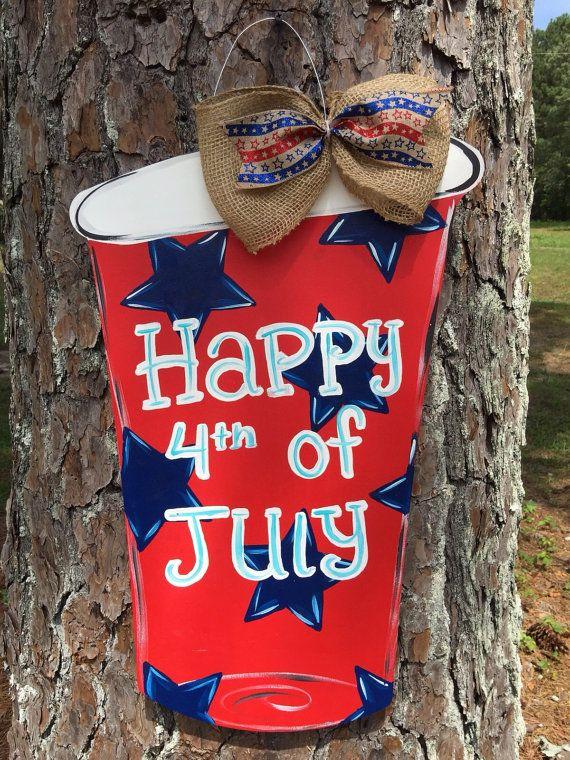 4th Of July Solo Cup Door Hangersummer By Furnitureflipalabama Mason Jars Door Candy Summer