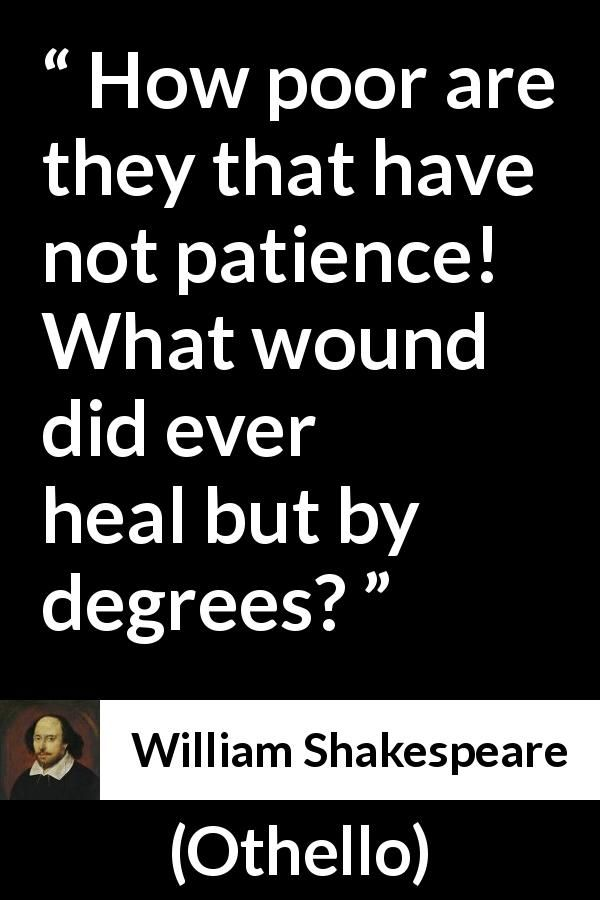 William Shakespeare Quote About Patience From Othello 1623