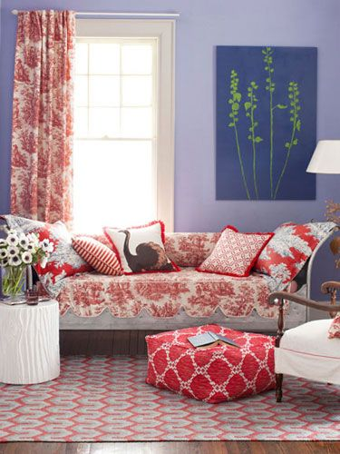 Splashy toiles, geometrics, and stripes throw cool lavender a red-hot curve.