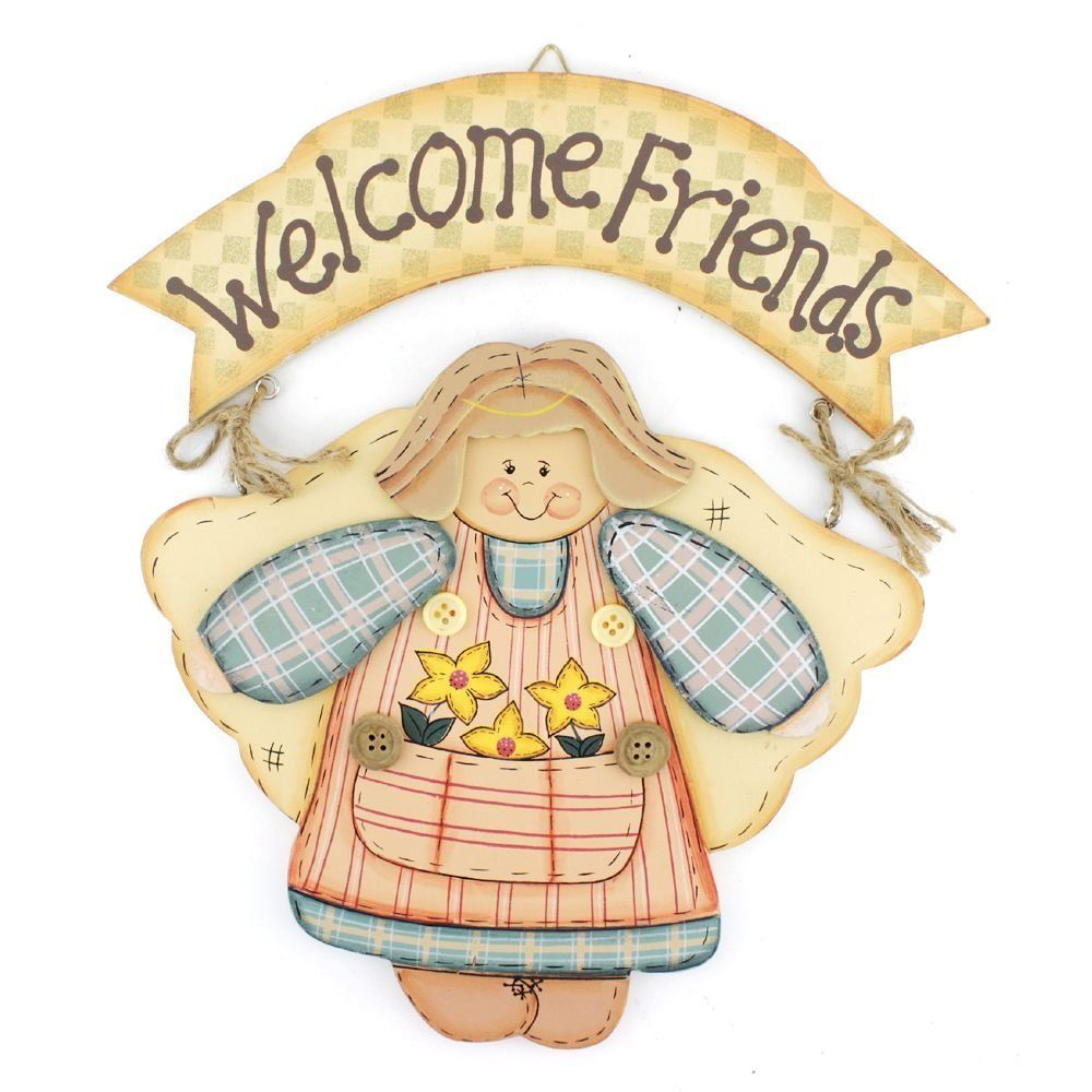 10.4\' Handmade Home Decor Smiling Girl Welcome Friends Welcome Sign ...
