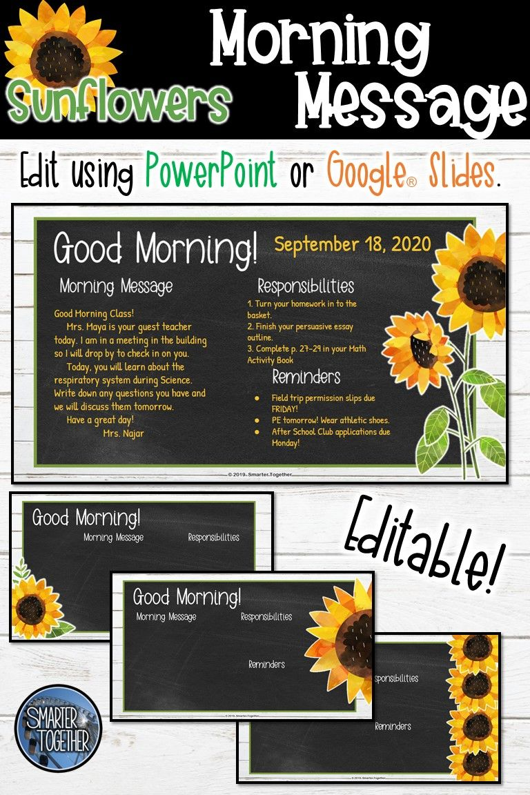 Editable Morning Message Sunflower Morning Messages Messages Classroom Themes