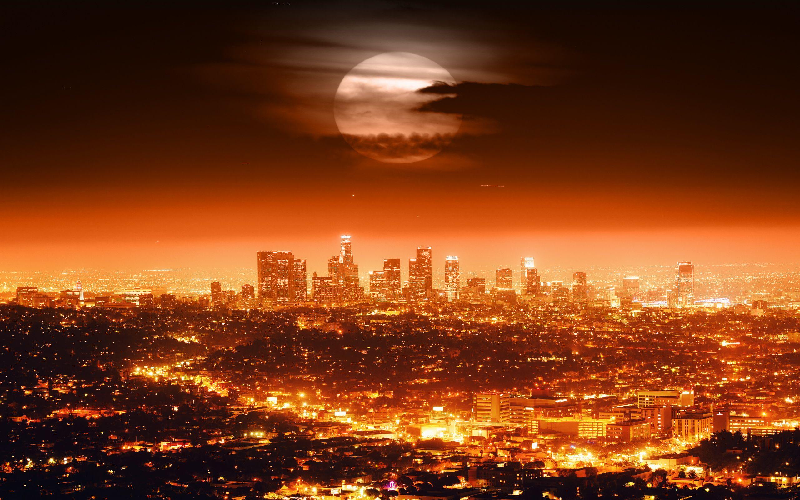 City Of Los Angeles Paysage Nocturne Fond D Ecran Los Angeles Skyline De Los Angeles