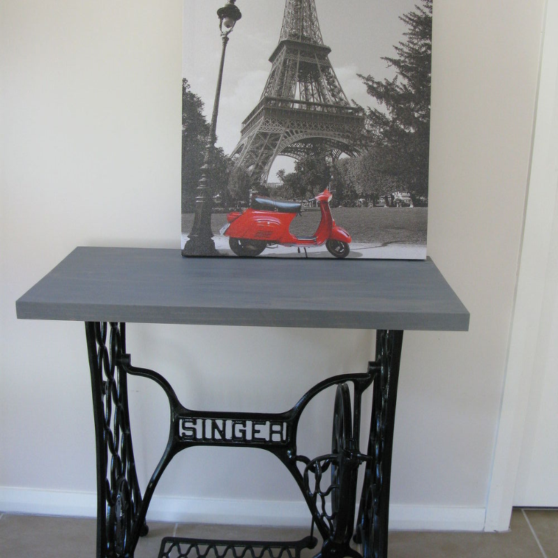 Singer Sewing Machine Cabinet Makeover To Hall Table