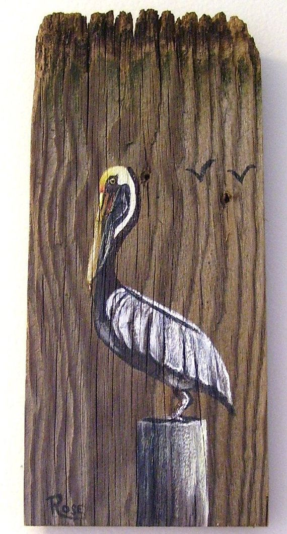 Pelican Hand Painted On Reclaimed Fence Board By