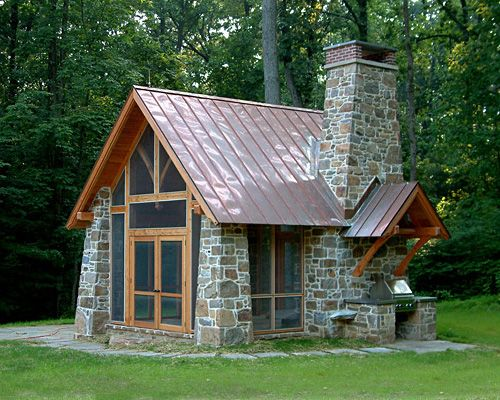 Designed For A Nature Loving Couple The Pavilion Is A Rustic Folly On The Client S Steeply Sloped And Densely Vege Stone Cabin Stone Houses Pavillion Backyard
