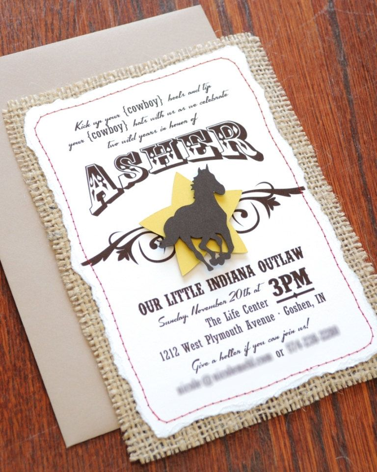 Cowboy Stitched Burlap Handmade Birthday Party Invitation 2700 Via Etsy
