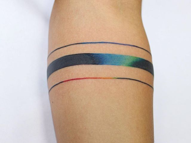 Hand Lines Tattoo Color Rainbow Goodsigntattoo