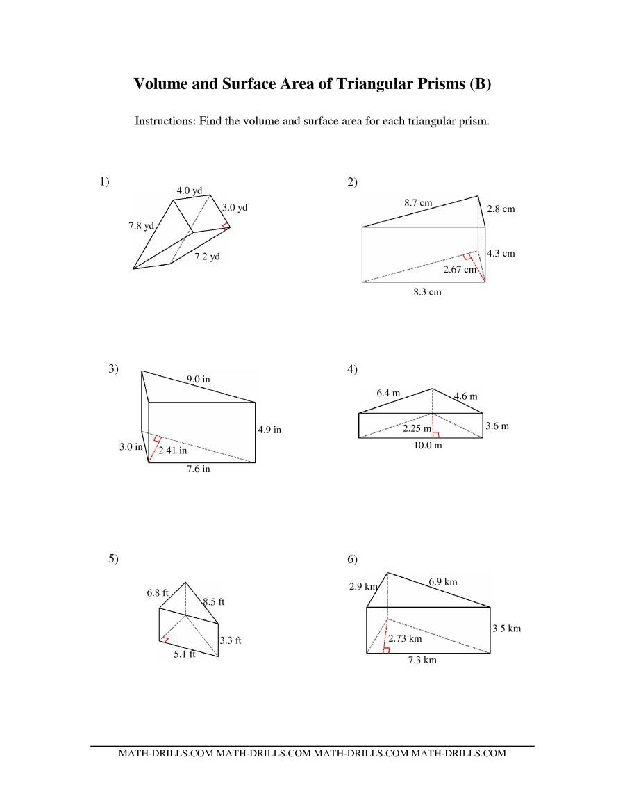 worksheet Surface Area Of Triangular Prism Worksheet the volume and surface area of triangular prisms b math worksheet from measurement