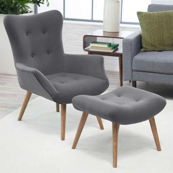 Modern Classic Mid Century Style Gray Accent Chair And Ottoman Rocking Chair Couleur