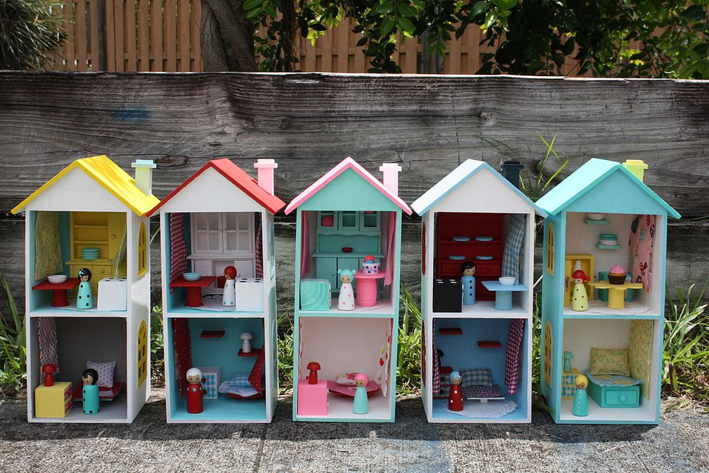 Doll furniture ideas. Great idea to make 3 different smaller ones for each girl.