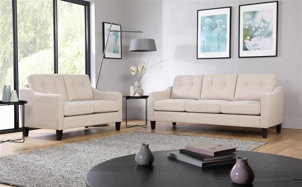 Hepburn Oatmeal Fabric 3 2 Seater Sofa Set Furniture Furniture Choice Sofa