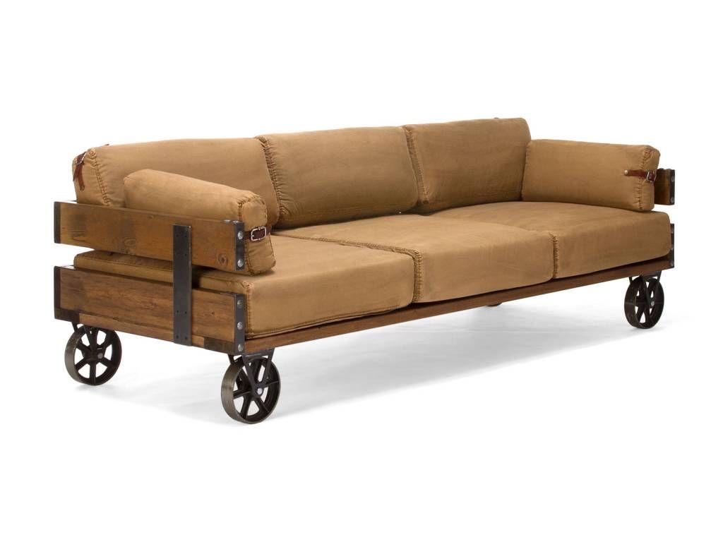 Sofa Im Industrial Design Auf Retro Rädern, Im Jeansstoff, Farbe Antik Braun