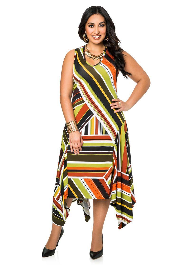 ac5e2979ab2 Hanky Hem Multi Stripe Dress Ashley Stewart