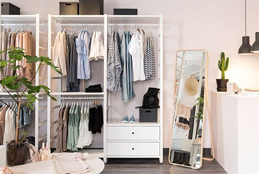 ikea begehbarer kleiderschrank wie z b algot oder elvarli kombination in wei m bel pinterest. Black Bedroom Furniture Sets. Home Design Ideas