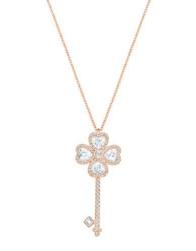 18K RoseGold Plated BlackRose Key Long Chain Necklace MadeWith Swarovski Crystal
