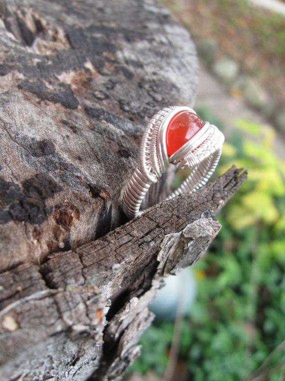 Size 9 Wire Wrapped Carnelian Ring in Sterling by SweetWaterSilver