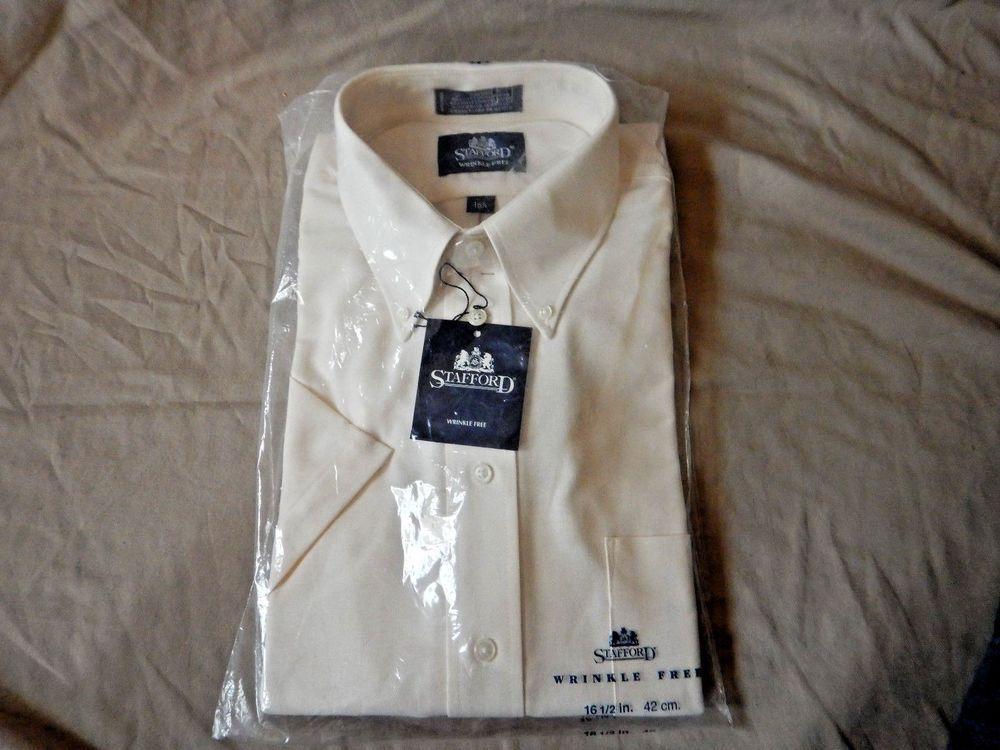 Nwt Mens Stafford Short Sleeve Ecru Dress Shirt Wrinkle Free 16 1 2 In Neck Stafford Shirt Wrinkles Ecru Dress Shirt Shirts