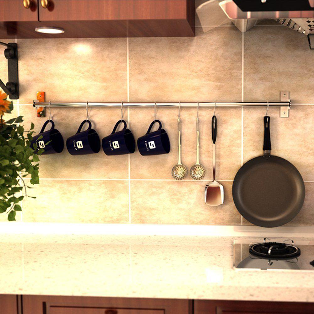 Amazon.com: Wall Mounted Pan Pot Rack Kitchen Bathroom Utensils ...