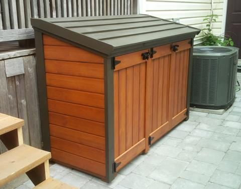 Pin By Julie On Decor Landscaping Trash Can Storage Outdoor Garbage Shed Outdoor Sheds