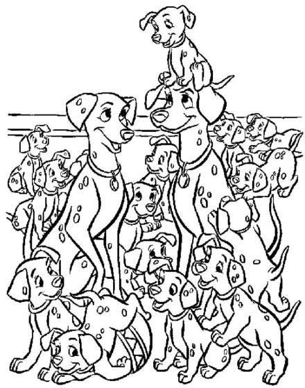 101 Dalmations Cartoon Coloring Pages