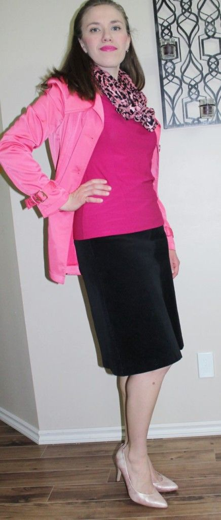 Modest Fashion 5 Shades of Pink - Top: RWCo, Jacket: Le Chateau, Scarf: Le Chateau, Skirt: Thrifted, Shoes: Top Shop #yycfashion #pink #fionaoutfits