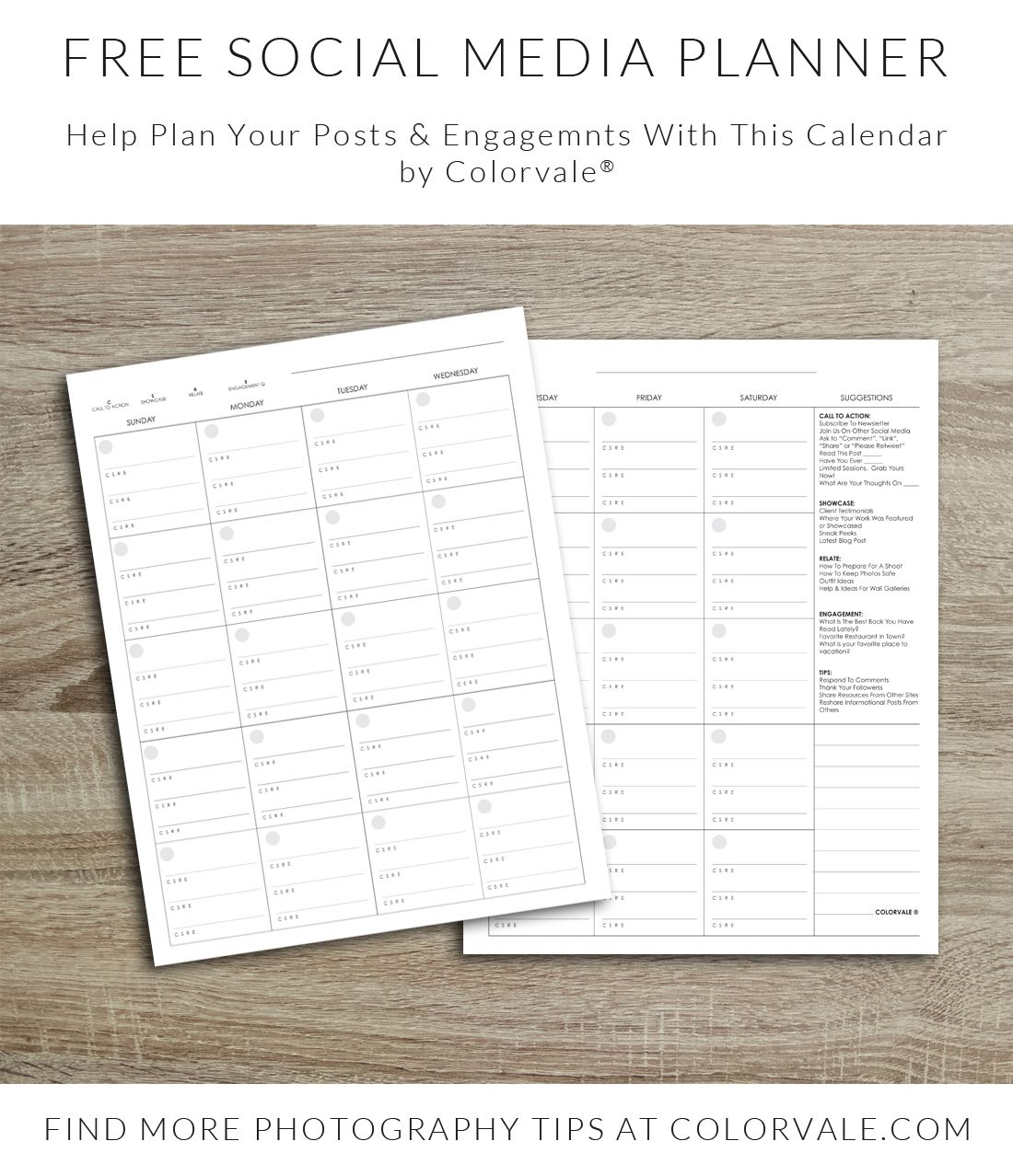 Free Social Media Planner For Photographers Photography Socialmedia Marketing Photographer
