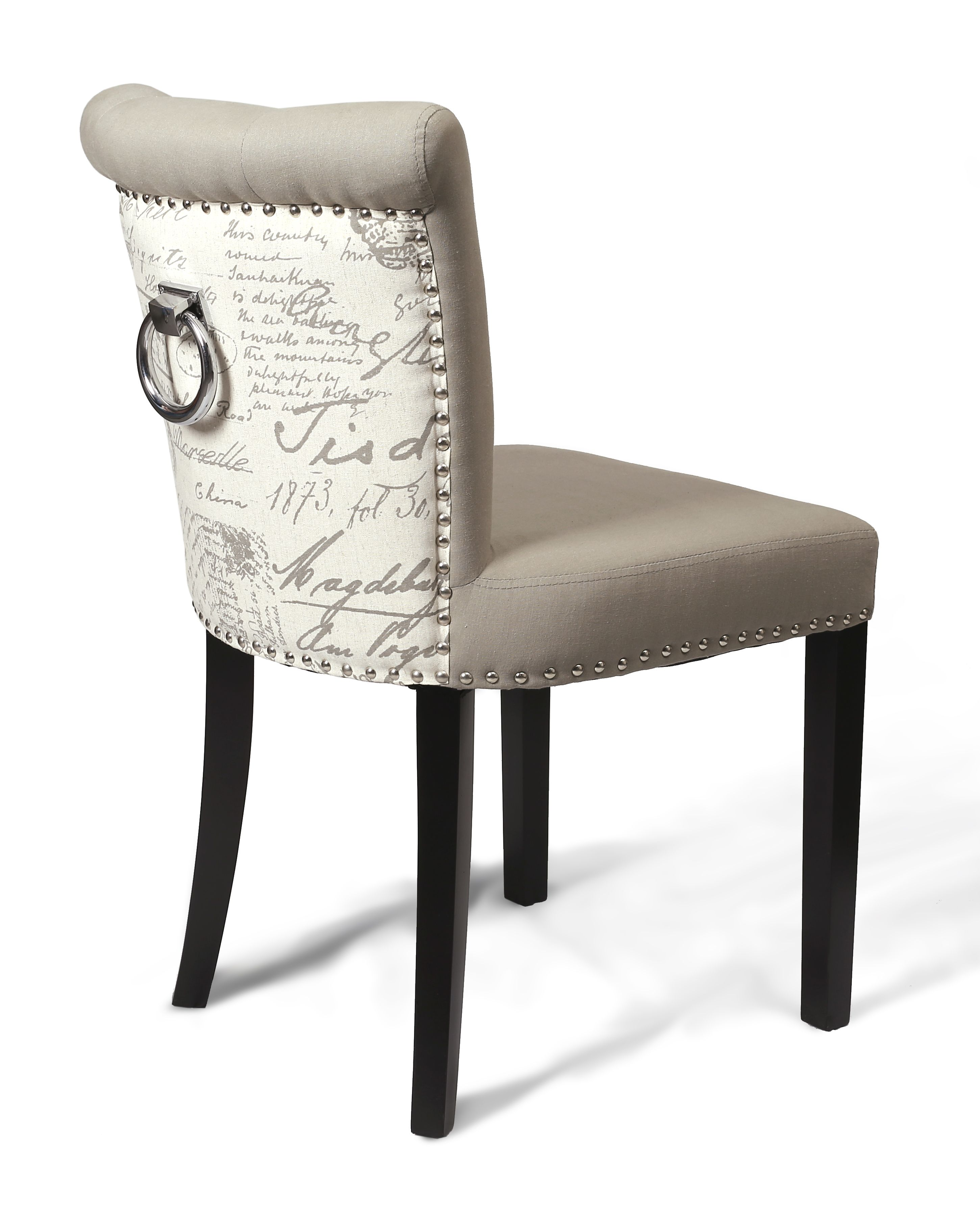 Sandringham Script Grey Fabric Dining Chair Fabric Dining Chairs
