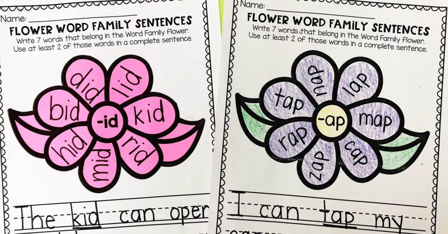 Word Family Flowers For Reading Fluency And Rhyming
