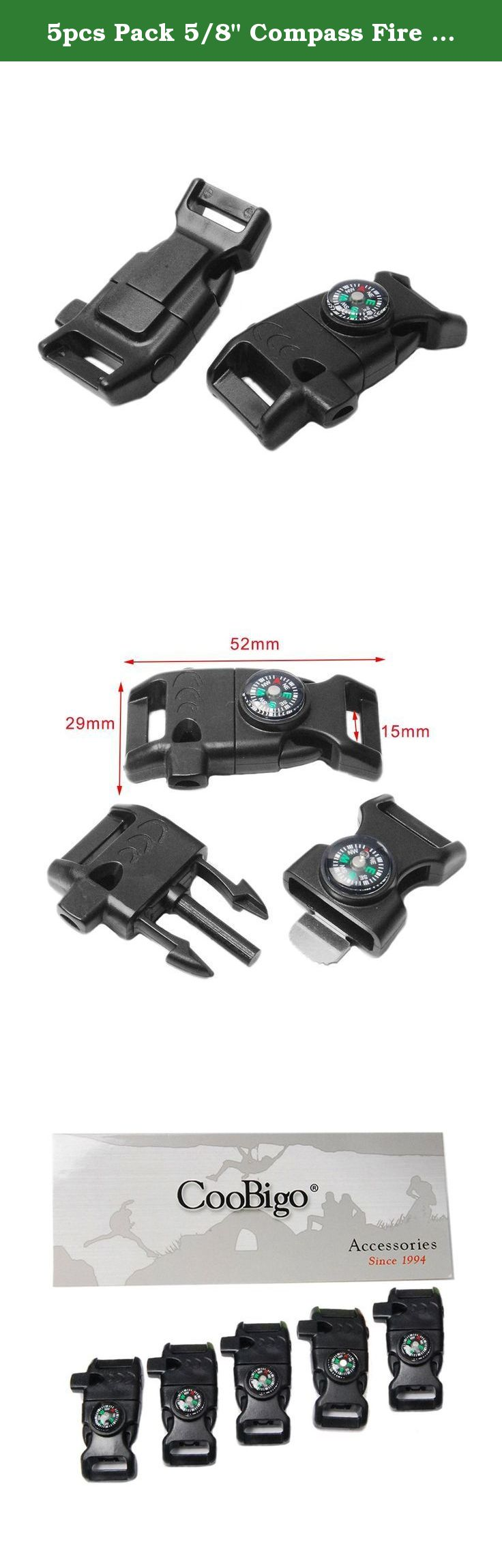 "5pcs Pack 5/8"" Compass Fire Starter Whistle Buckle"