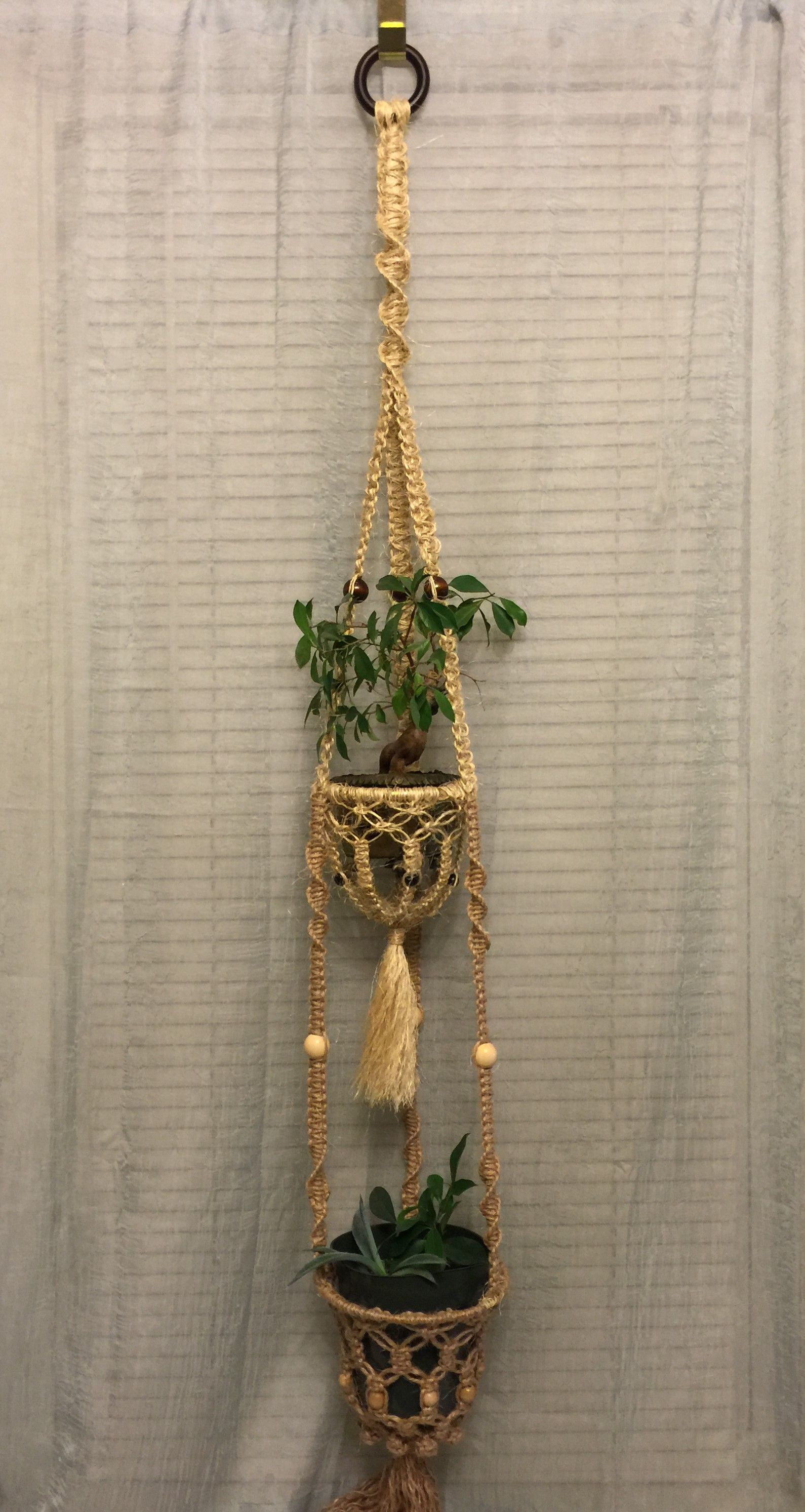 Macrame Plant Hanger Double Natural Jute Sisal With Images