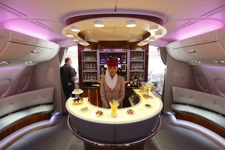 Emirates Airbus A380 Bar First Class Airline First Class