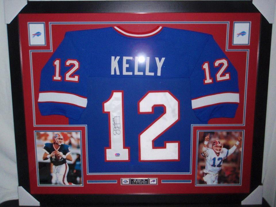 Jim kelly autographed framed buffalo bills football jersey