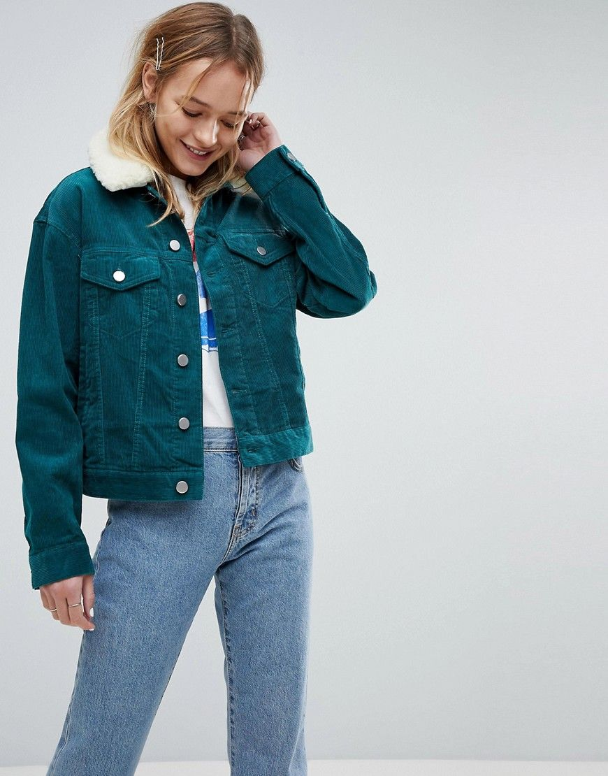 Asos Cord Cropped Jacket In Emerald Green With Detachable Fleece Colla Green Denim Jacket Green Jacket Outfit Jacket Outfit Women
