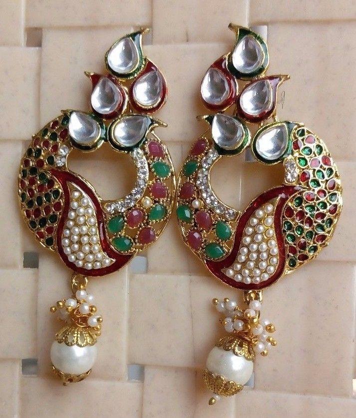 Bridal & Wedding Party Jewelry Nice Women Designer Goldtone Kundan Stone Jhumka Earring Ethnic Party Jewellery