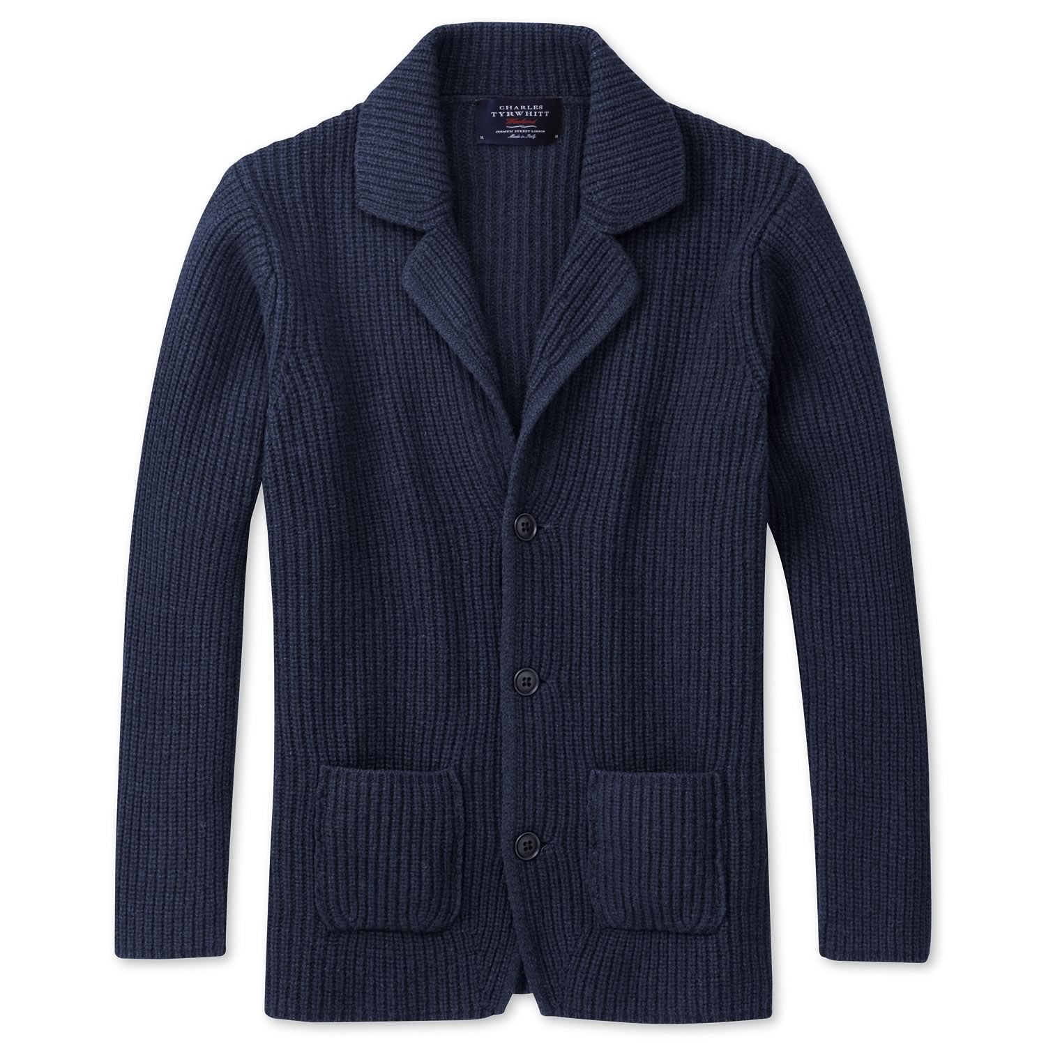 Navy marl fisherman's rib cardigan | Men's knitwear from ...