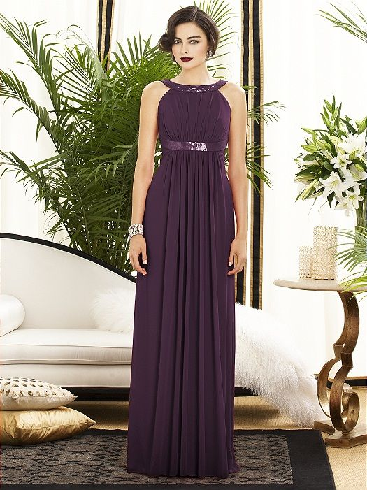 MOH Dessy dress in aubergine | Oct Wedding | Pinterest | Themed ...