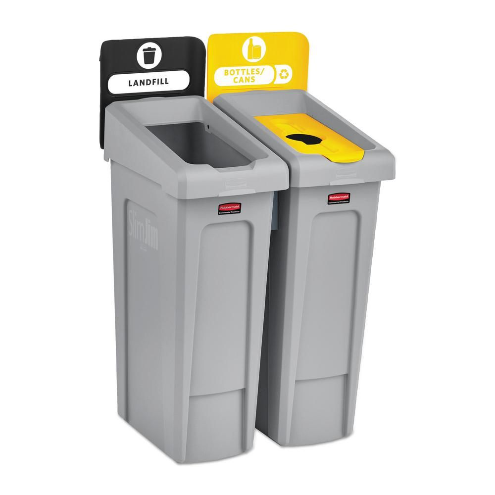 Rubbermaid Commercial Products 46 Gal Slim Jim Recycling Station Kit 2 Stream Landfill Bottles Cans Rcp2007916 Recycling Station Recycling Containers Indoor Recycling Bins