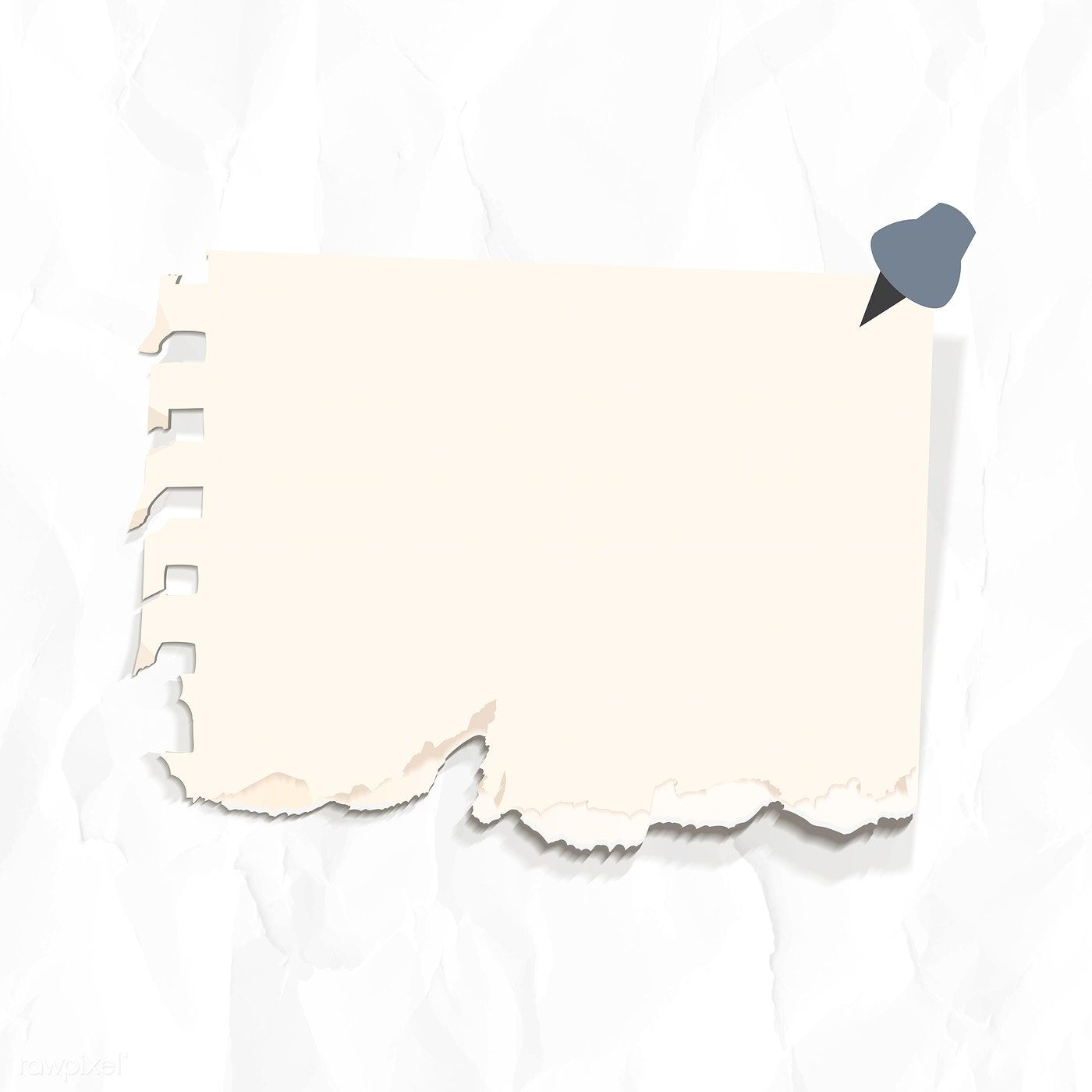 Download Premium Image Of Blank Ripped Paper Set With A Pin On Wrinkled Note Paper Wrinkled Paper Background Paper Background Texture
