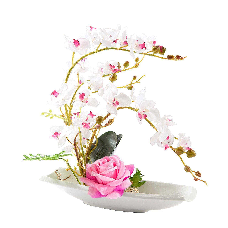 Phalaenopsis Bonsai Artificial Silk Flower Arrangement Home Decor ...
