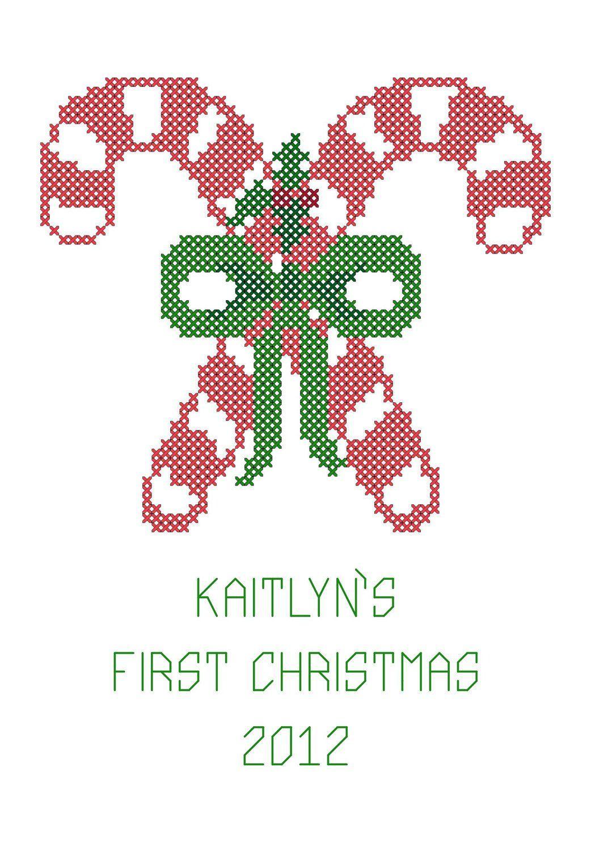Candy Cane Cross Stitch Pattern Christmas Cross Stitch
